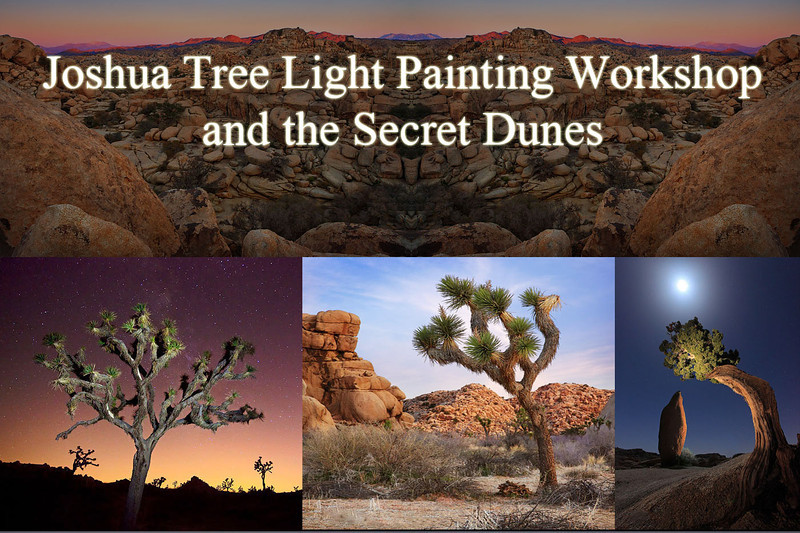 """<b> <Font Size=+3> <p>""""<u>Joshua Tree Light Painting Workshop and Secret Dunes</u>""""</b> </Font> <br><p> <b>Dates Nov 2-3, 2013<p></b> <p>Space limited to 3:1 (participants:instructor) ratio.<p> <p> Photographer Skill level: beginner to advanced<br><p> Joshua Tree is a very special place for those who love nature and landscape photography. The natural features and flora of the Mojave and Sonoran Desert intersection offers us unlimited opportunities to pursue our craft.  If you have not experienced Joshua Tree or the Mojave Desert this is the perfect workshop for you. We will visit the Icons that you associate these parks with and visit a few other beautiful photographic locations that you wil be unfamiliar with. A special trip to a dune field that no one knows about!  There will be a low Landscape instructors to student ratio so YOU WILL get the One On One Instruction you are looking for.  Classroom instruction will include a discussion on  <br><p> Topics covered<p> • HDR imaging techniques<p> • Creative Composition<p> • Compositing<p> • Night Photography & Light painting tastefully<p> • Panoramic photography• Creative Composition<p> • Tips on the use of certain filters<p> • Adapting to changing light<p> • Maximizing depth of field<p> • Desert hiking <p>  <p>Price $600 early sign up $500 until until May 1st - * Includes 13 page ebook on night photography.  Water and light snacks will be provided.<p> What's not included transportation, lodging and meals.<p> <p> Fitness level : Easy - Not much hiking involved besides the dunes. <p> Itinerary: Meet in the afternoon Friday shoot the golden hour / sunset.  Then Lightpainting at twilight and early evening. Saturday: Photograph Sunrise in the park the rest of the day will be decided at the workshop.  We will spend some time going over creative processing techniques in photoshop.     <br>  <form action=""""https://www.paypal.com/cgi-bin/webscr"""" method=""""post""""> <input type=""""hidden"""" name=""""cmd"""" value=""""_s-xclick""""> <input type=""""hidde"""