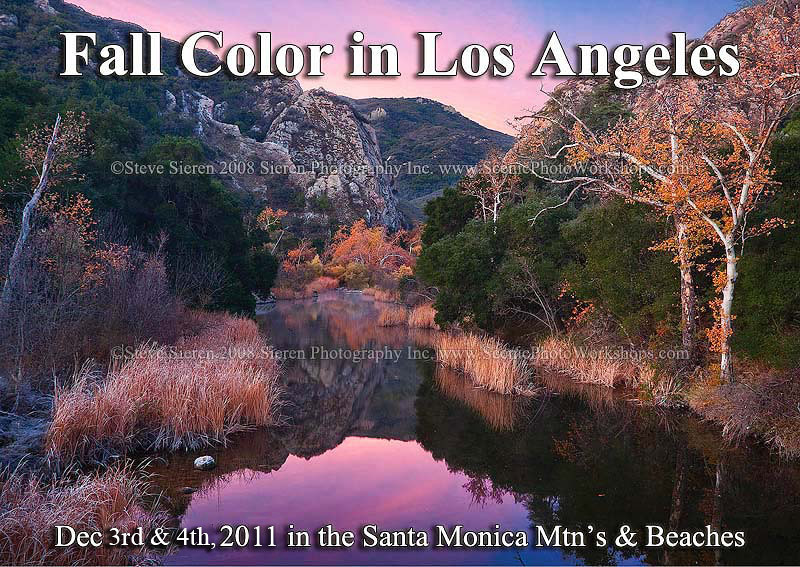 """<b>Annual Fall Color and Sunrise Beaches in the Santa Monica Mountains</b><p> <br>Santa Monica Mountains <b>Dec 1-2, 2012</b>  This is the 4th annaul workshop now.<p>  <br><b>$295.00<b><p>  Come and experience a fall and sunset / sunrise beaches photo tour only minutes away from Downtown Los Angeles.   <p> This photo tour is right for you if  <p> You want to explore the full potential of photography and your personal vision while making photographs at inspiring locations, and receiving feedback on your images as you make them. <p>    <form action=""""https://www.paypal.com/cgi-bin/webscr"""" method=""""post""""> <input type=""""hidden"""" name=""""cmd"""" value=""""_s-xclick""""> <input type=""""hidden"""" name=""""hosted_button_id"""" value=""""9143136""""> <table> <tr><td><input type=""""hidden"""" name=""""on0"""" value=""""Payment Options"""">Payment Options</td></tr><tr><td><select name=""""os0""""> <option value=""""Deposit - to hold a spot"""">Deposit - to hold a spot $150.00 <option value=""""Full Payment"""">Full Payment $295.00 <option value=""""Remaining Balance"""">Remaining Balance $145.00 <option value=""""Equipment Rental"""">Equipment Rental $75.00 <option value=""""Full Balance and Equipment Rental"""">Full Balance and Equipment Rental $370.00 </select> </td></tr> </table> <input type=""""hidden"""" name=""""currency_code"""" value=""""USD""""> <input type=""""image"""" src=""""https://www.paypal.com/en_US/i/btn/btn_buynowCC_LG.gif"""" border=""""0"""" name=""""submit"""" alt=""""PayPal - The safer, easier way to pay online!""""> <img alt="""""""" border=""""0"""" src=""""https://www.paypal.com/en_US/i/scr/pixel.gif"""" width=""""1"""" height=""""1""""> </form>  Click the arrow tab for options<p>  <p><Font Size=+1>A few photographs of the <a href=""""http://www.sierenphotography.com/Landscapes/beaches/Santa-Monica-Mountains/3643947_bFter"""" target=""""_blank"""">Santa Monica Mountains and Beaches</a> and <a href=""""http://bit.ly/ryUuTv"""" target=""""_blank"""">Fall in Southern California</a></p>  </Font>  Ask about our single day or half day pricing for this workshop  <p>If you have any questions, please don't hesitate to ask.  We are here to hel"""