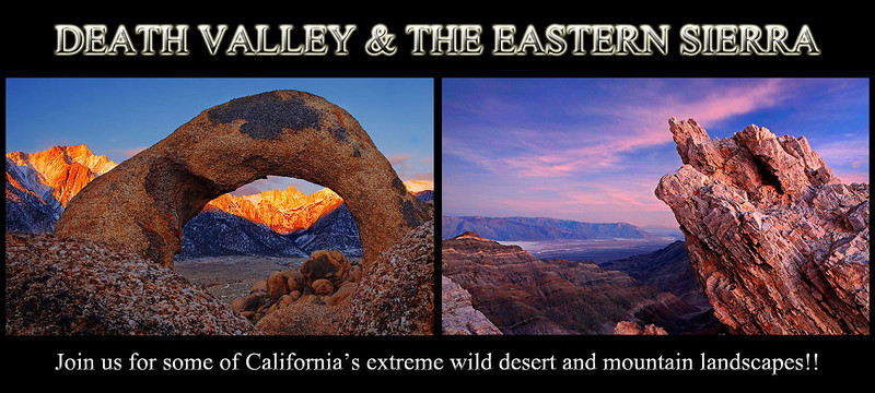 <b>The Death Valley & Eastern Sierra Experience</b><p>  <br><b>*March 21-24, 2013 -  4 full days<p> </b>   Instructor: Steve Sieren<p> Who should attend: All skill levels from novice to professional <p> <br><b>Limit: 6 attendees in March -  </i></b><p><p>  We have been leading workshops to Death Valley and the Eastern Sierra since 2005.  This is a late winter/ early spring workshop when Death Valley may possibly be surrounded by snow capped peaks after rain storms.  Catching a rain storm can bring the desert to life along with a few or many wildflowers on the desert floor.  This place is a natural wonder and situated in America's largest national park in the lower 48 states.  It is also the lowest place in the US at -282 ft below sea level.  The stunning dune fields are continually transformed by wind under big sky. Light and shadows constantly change revealing an amazing variety of form and color. The dune fields, badlands, mountains and salt flats throughout the park are varied and a number of plants and animals have adapted to this strange environment.  The Eastern Sierra's peaks tower miles above the Owens Valley making it one of the world's best geological wonders.  We will photograph the Alabama Hills during this workshop.  There will be light painting in this workshop at opportune times. I will show how to tastefully light paint and use it to accent areas of a photograph during the time when most photographers would assume the lighting is bad to be photographing anything.  <p> Participants will learn the basic technical aspects such as camera settings and functions, depth of field basics, the use of different filters, composition skills, photography at night and many different techniques for light painting.  Students will learn different ways of exercising their creativity.  Instruction on different methods for HDR (natural & surreal) photography and what subjects to look for in the field will also be provided.     <p> What will the weather be like?  While ma