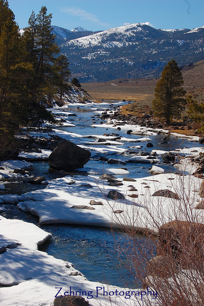 Early spring melt begins to show at the eastern entrance to Sonora Pass in the Sierra Nevada range in California.