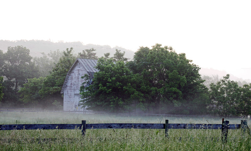 Barn at Lupton in early morning fog 5