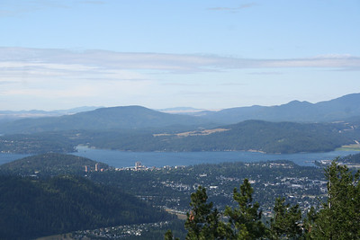 Lake Coeur d' Alene from top of Canfield Mt