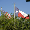 American and Texas flags wave above the treetops.
