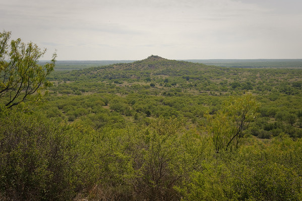 Vista view of rangeland from a butte at Stasney's Cook Ranch in Albany, Texas.