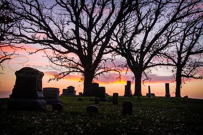 Iowa graveyard sunset
