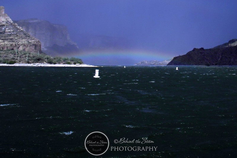 Monsoon storm rainbow over Apache Lake AZ<br /> OLYMPUS DIGITAL CAMERA