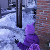 5-year-old negotiating a snow-filled icy sidewalk