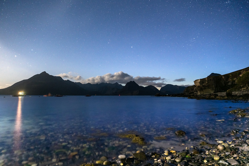 Elgol at some nocturnal hour this morning (12/5/19). Three photos stacked together. Sky, Cuillins and stones at the front