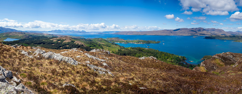14 image panorama featuring Skye, The Cuillins, Raasay, Plockton, Duncraig Castle, Hebridean Princess, Applecross pass and maybe Torridon over the far right.