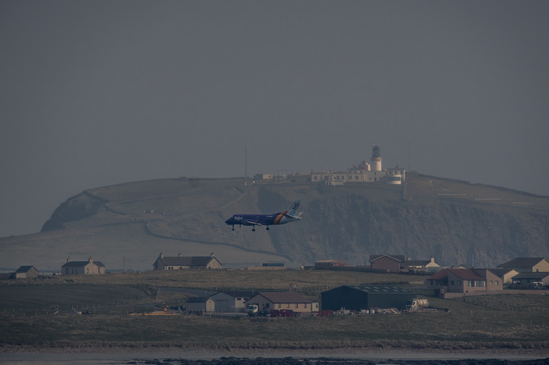 Plane landing at Sumburgh airport, Shetland. May 2016