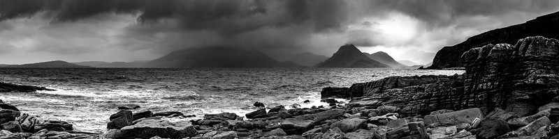 Cuillin Hills from Elgol pano mono