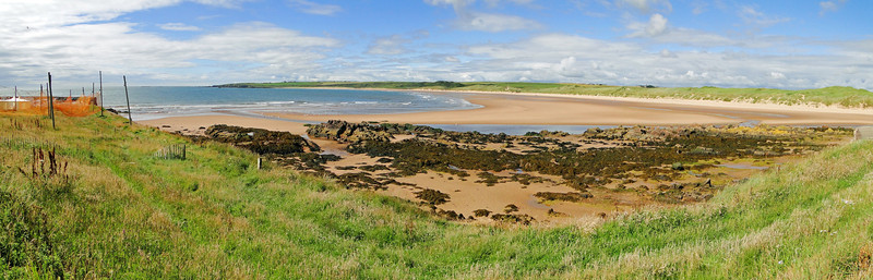Fishing nets drying overlooking the beach at Cruden Bay  To find the location of this site, copy 57.412951,-1.845574 and paste it into Google Maps
