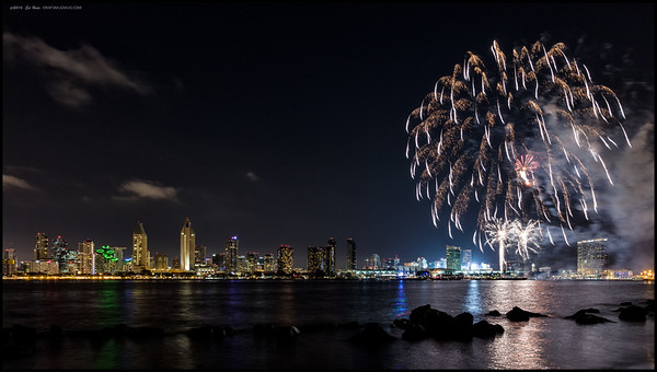 Summer Pops fireworks along the San Diego skyline.