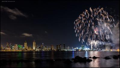 Summer Pops fireworks along the San Diego skyline.