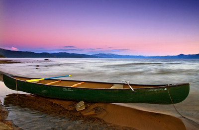 A lone Canoe on Kings Beach, Lake Tahoe, California. I used a 2stop ND Filter