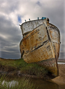 "The fishing Boat, ""Point Reyes"" which ran aground in the town of Inverness, California"