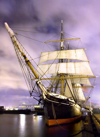 """This photo was taken in downtown San Diego along the harbor walk. The tall ship known as the """"Star of India"""" is home to a maritime museum."""