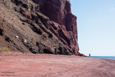Red sand beach on Isla Rabidá - Galapagos, Ecuador