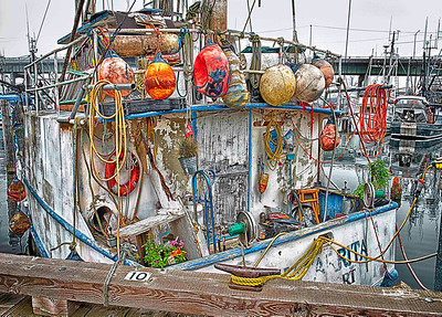 """Grunge Boat""  This old live-aboard at Seattle's Fishermen's Terminal seems to have one of everything...a fantastic subject for a colorful HDR photo."
