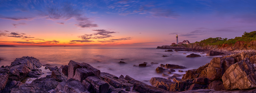 Portland Head Light at sunrise (4:52 AM) on July 28, 2012 at Fort Williams Park in Cape Elizabeth, Maine.  This image comprises multiple photos stitched and blended together to form an ultra-high-resolution, high dynamic range panorama that is over 115 megapixels.