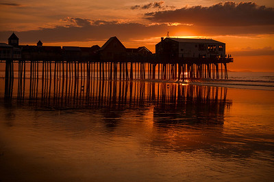 The famous pier on Old Orchard Beach at sunrise.