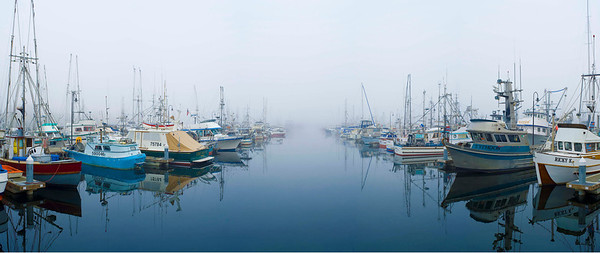 """Misty Moorings"" Seattle's famous Fishermens' Terminal on a foggy Fall day."
