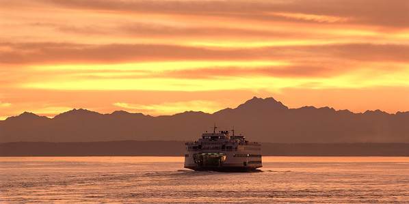 """Summer Crossing""   The jumbo ferry Spokane makes another crossing to Bainbridge Island on a beautiful summer's evening."