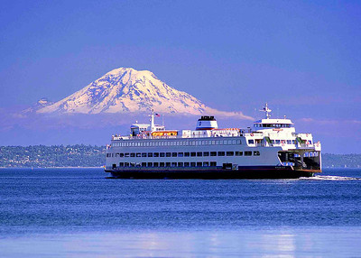 """Summer Crossing"" The ferry Spokane makes another crossing from Bainbridge Island to Seattle with Mt. Rainier as a spectacular backdrop."