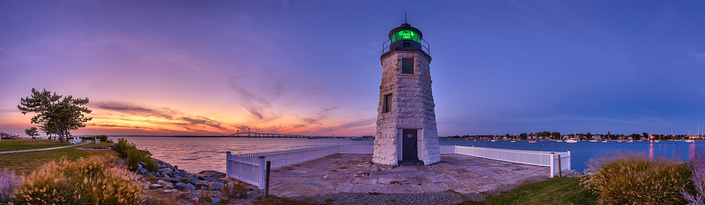 Newport Harbor Light at sunset (7:03 PM EDT) on September 17, 2012 on the grounds of the Hyatt Regency Newport on Goat Island in Newport, Rhode Island.  This image comprises multiple photos stitched and blended together to form an ultra-high-resolution, high dynamic range panorama that is over 165 megapixels.