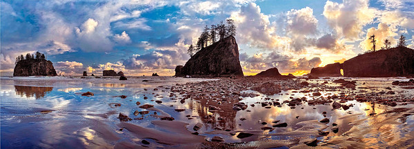 """After The Storm"" 2nd beach at La Push.  After 30 years of trying to get the ""quintessential"" Olympic Coast shot, I think that I may have succeeded. This 7 shot pano was taken in late May and combines the nearly impossible-to-come-by elements of a beautiful sky, a clear sunset and a tide at the perfect height to produce reflections on the sand. Shot on the Nikon D3 with the Really Right Stuff L-Bracket and pano package (PCL-1 clamp and MPR-Cl II nodal slide). See details at http://reallyrightstuff.com/WebsiteInfo.aspx?fc=125"