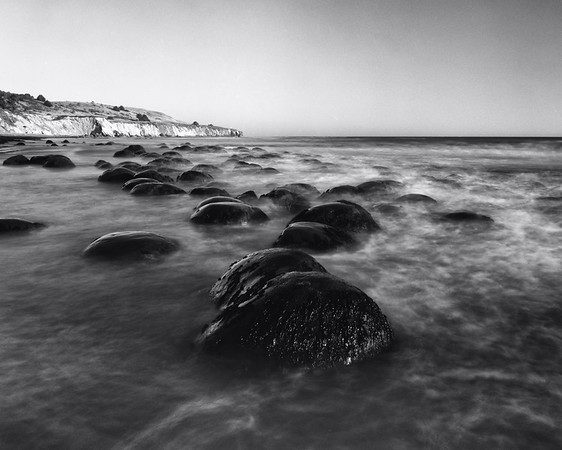 Tide was ~2-3 ft. just before sunset.  Large format film, 8 sec exposure