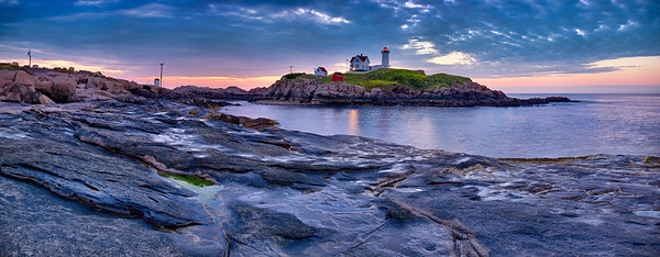 "Cape Neddick Lighthouse (""Nubble Light"") just before a cloudy sunrise (5:02 AM) on July 13, 2011 at Sohier Park in York, Maine.  This image comprises multiple photos stitched and blended together to form an ultra-high-resolution, high dynamic range panorama that is over 126 megapixels."