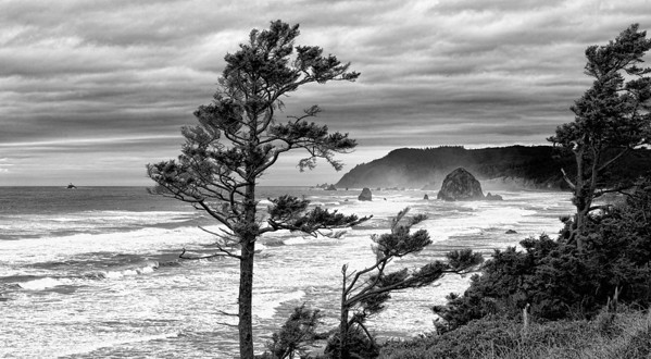 """Storm Watch"" This view of Cannon Beach Oregon and the famous Haystack Rock was taken as a winter storm packing 85 mph winds approached the coast, turning the entire beach into a cauldron of froth. Note the small island off to the left...this is Tillamook Rock and its lighthouse; now a columbarium. What a view for eternity."
