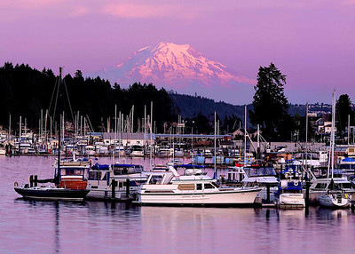 """Gig Harbor"" Perhaps the best natural harbor in Puget Sound, Gig Harbor provides a safe haven for many South Sound boaters...and a fabulous view of Mt. Rainier."