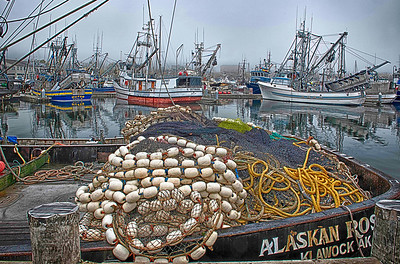 """""""Grunge Net""""  The venerable purse seiner """"Alaskan Rose"""" has been plying Northwest waters for many a year in search of salmon. A spaghetti plate of nets and cordage make a great HDR subject on a foggy Fall day."""