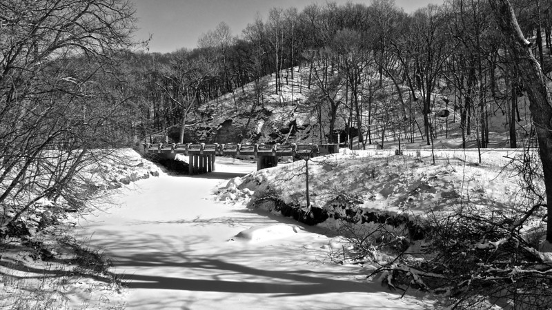 Snow by the River #133125455 BW