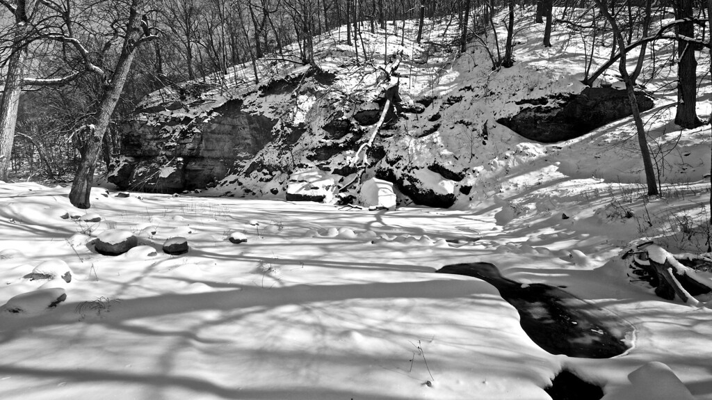Snow by the River #133125499 BW