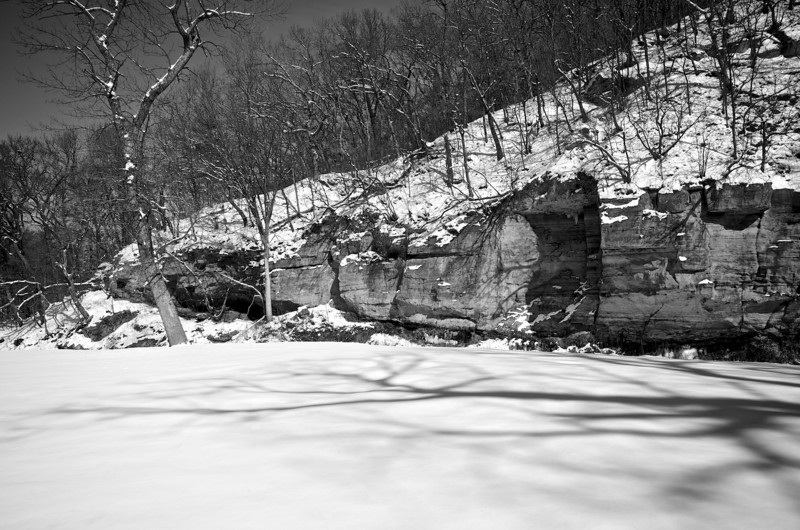 Snow by the River #1334 BW