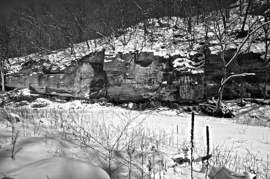 Snow by the River #1339 BW