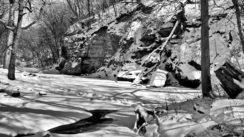 Snow by the River #133125477 BW