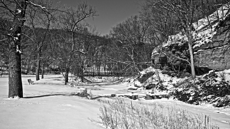 Snow by the River #13312 BW