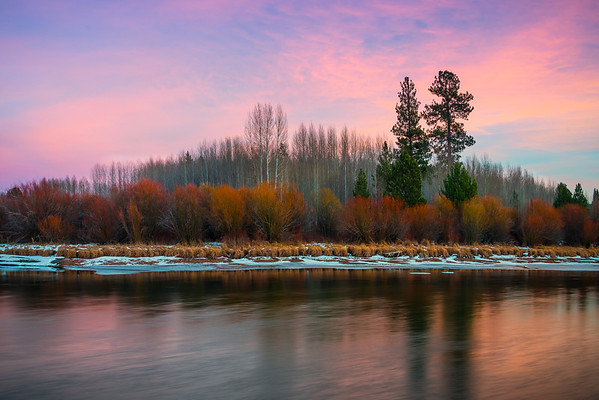 Twilight Colors Mix With Autumn - Deschutes River, Bend, Oregon St