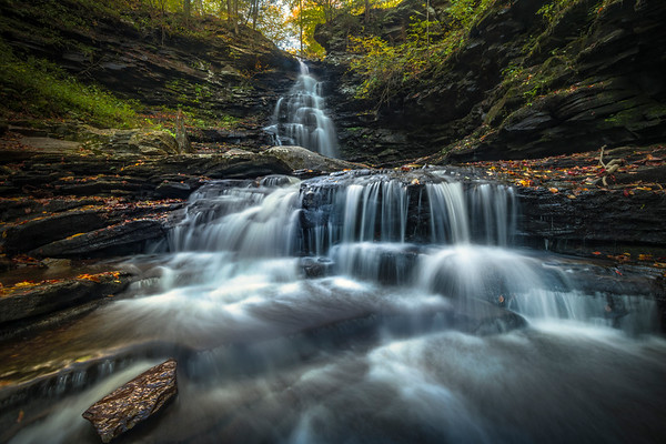 Steps Of Falling Water And Color-Ricketts Glen State Park, Pennsylvania