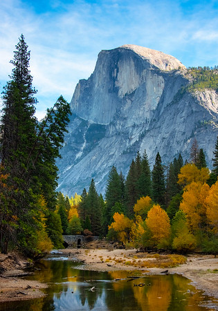 Reflections Of Color Along Merced And Half Dome Near Stoneman - Lower Yosemite Valley, Yosemite National Park, California