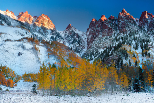 First Light On The Peaks - Maroon Bells Area, Aspen, Colorado