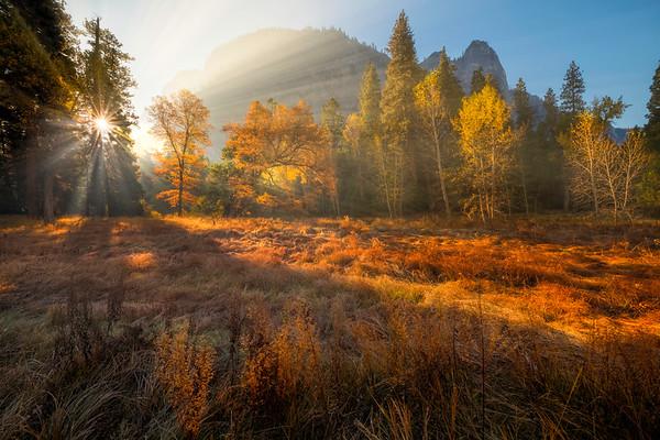 Sunrise Rays Beam Onto Cooks Meadow - Lower Yosemite Valley, Yosemite National Park, CA
