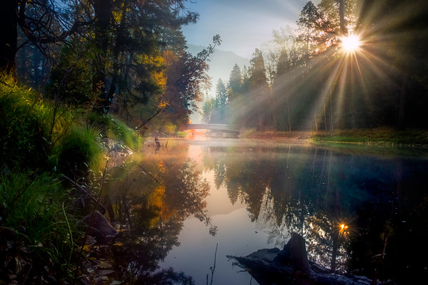Sunray Morning On The Merced - Lower Yosemite Valley, Yosemite National Park, CA