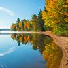 Reflections Following The Shoreline - Algonquin Provincial Park, Nipissing, South Part, Ontario, Canada