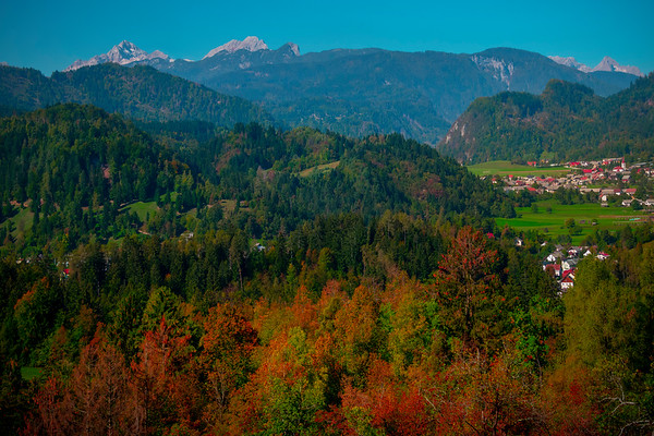 Surrounding Mountain Range Around Lake Bled - Lake Bled, Bled, Slovenia