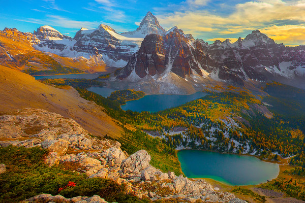 Mt Assiniboine From the Very Side Looking Back At All The Pools - Mount Assiniboine Provincial Park, BC, Canada
